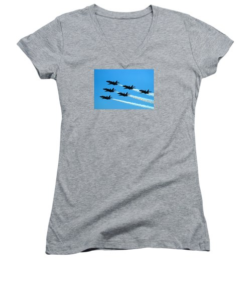 Blue Angels The Need For Speed Women's V-Neck T-Shirt (Junior Cut) by James Kirkikis