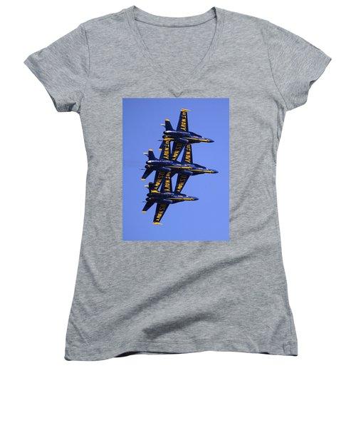 Blue Angels II Women's V-Neck T-Shirt (Junior Cut) by Bill Gallagher