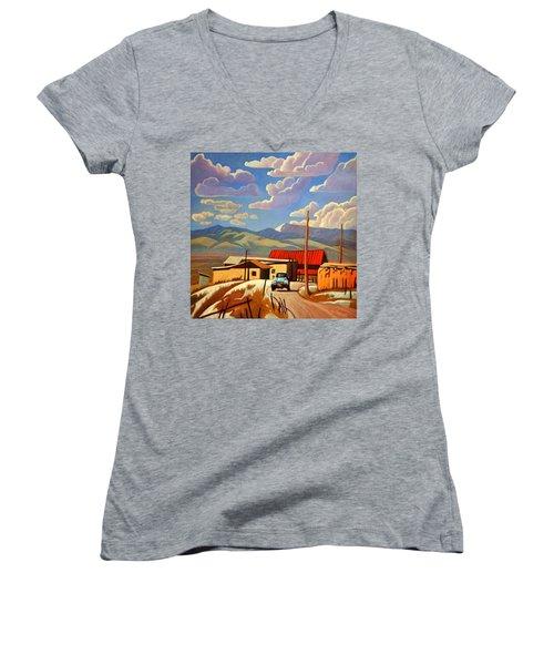 Blue Apache Women's V-Neck T-Shirt (Junior Cut) by Art James West