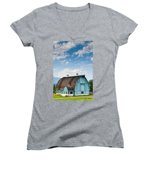 Blue Barn In The Stillaguamish Valley Women's V-Neck (Athletic Fit)