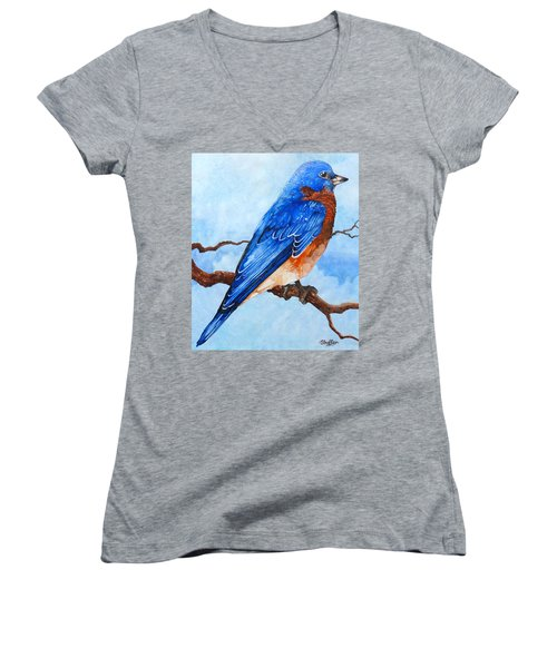 Blue Bird Women's V-Neck T-Shirt (Junior Cut) by Curtiss Shaffer