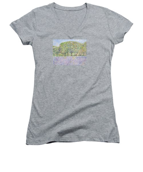 Blue Bonnets  Field In  Texas Women's V-Neck (Athletic Fit)