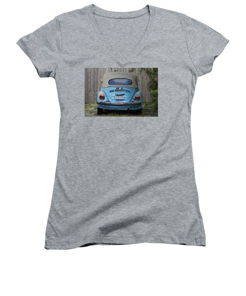 Blue Bug Women's V-Neck T-Shirt (Junior Cut) by Debi Demetrion