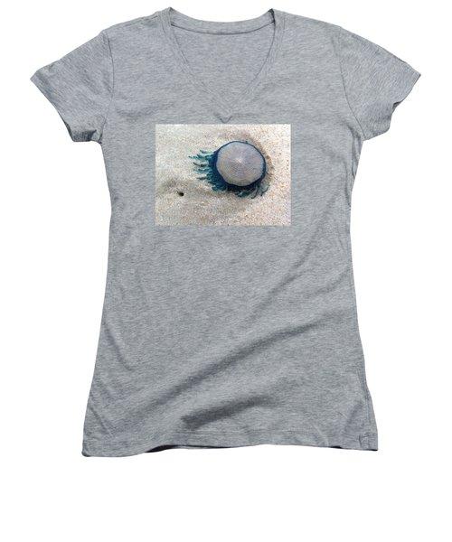 Blue Button #2 Women's V-Neck T-Shirt (Junior Cut) by Paul Rebmann