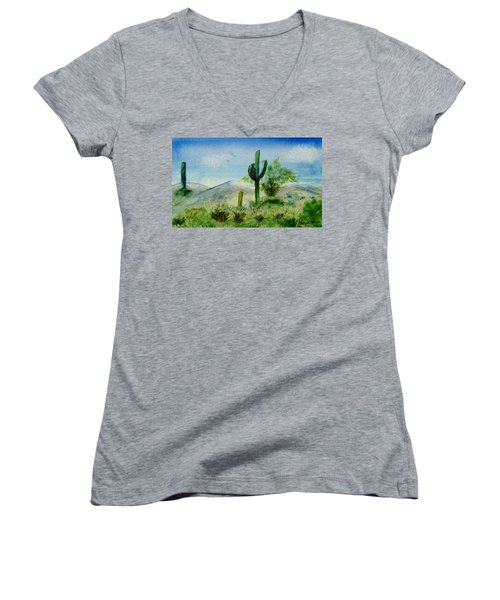 Women's V-Neck T-Shirt (Junior Cut) featuring the painting Blue Cactus by Jamie Frier