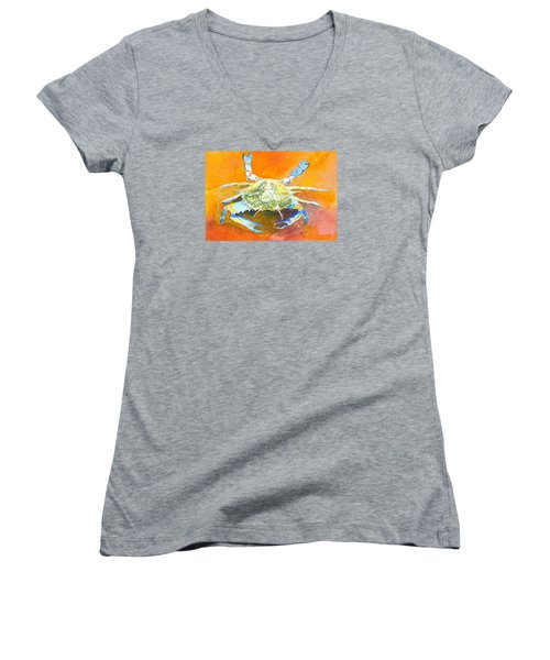 Blue Crab Women's V-Neck T-Shirt (Junior Cut) by Anne Marie Brown