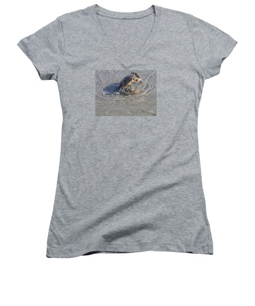 Blue Crab Chillin Women's V-Neck T-Shirt (Junior Cut) by Robert Nickologianis
