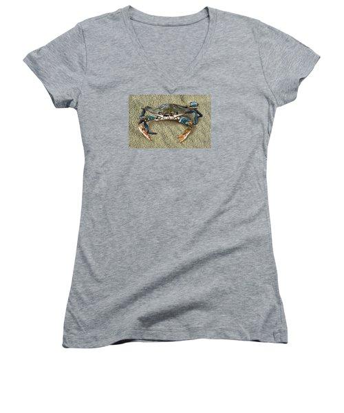 Blue Crab Confrontation Women's V-Neck T-Shirt