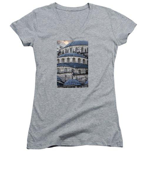 Blue Dawn Blue Mosque Women's V-Neck T-Shirt (Junior Cut) by Joan Carroll