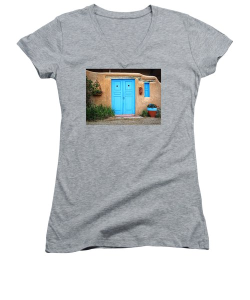 Blue Doors Of Taos Women's V-Neck
