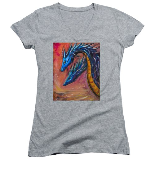 Women's V-Neck T-Shirt (Junior Cut) featuring the painting Blue Dragons by Yulia Kazansky