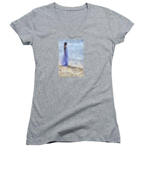Blue Dream. Impressionism Women's V-Neck T-Shirt (Junior Cut) by Jenny Rainbow