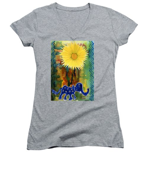 Blue Elephant In The Rainforest Women's V-Neck (Athletic Fit)