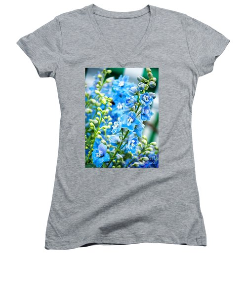 Blue Flowers Women's V-Neck T-Shirt (Junior Cut) by Antony McAulay