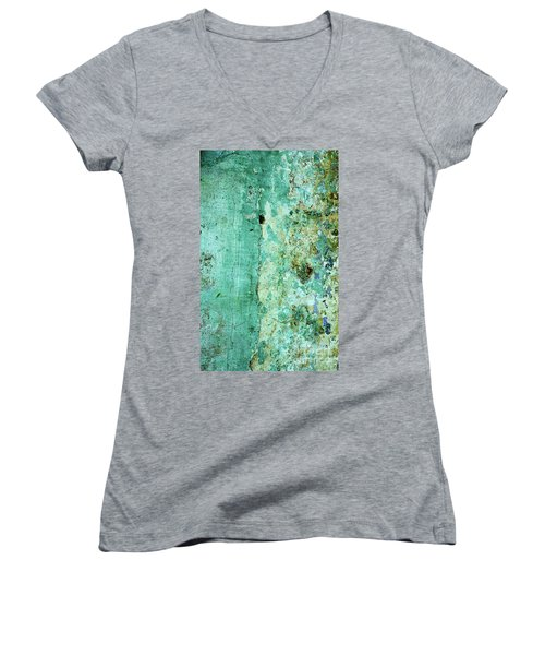 Blue Green Wall Women's V-Neck (Athletic Fit)