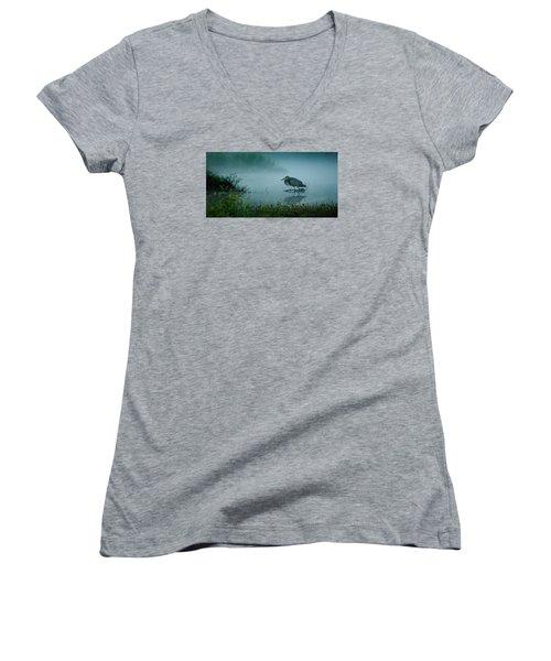 Blue Heron Morning Women's V-Neck T-Shirt (Junior Cut) by Deborah Smith
