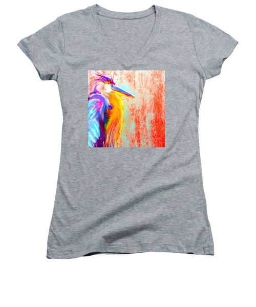 Funky Blue Heron Bird Women's V-Neck (Athletic Fit)