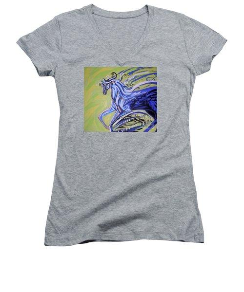 Blue Horse Women's V-Neck T-Shirt (Junior Cut) by Genevieve Esson