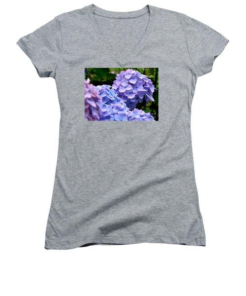Blue Hydrangea Women's V-Neck