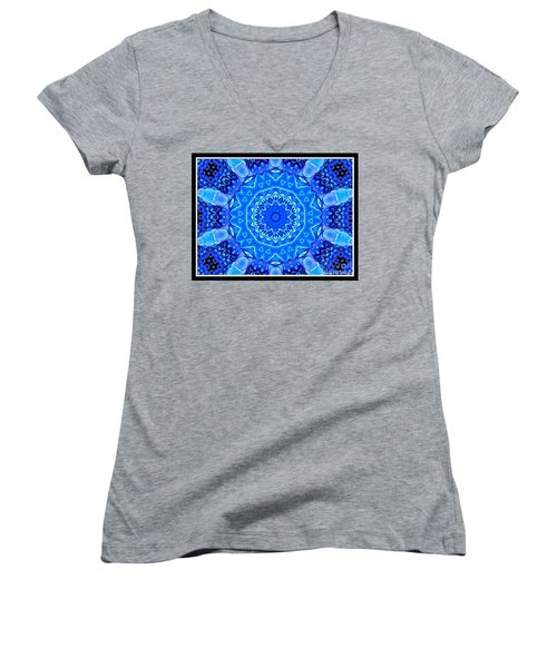 Women's V-Neck T-Shirt (Junior Cut) featuring the photograph Blue Hydrangeas Flower Kaleidoscope by Rose Santuci-Sofranko