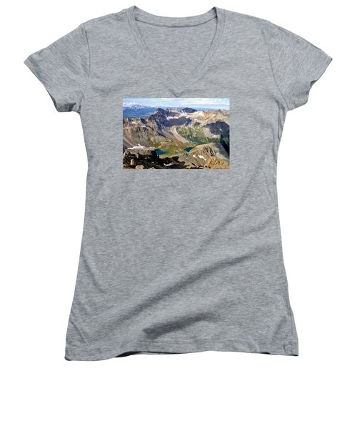 Women's V-Neck T-Shirt (Junior Cut) featuring the photograph Blue Lakes Beauty by Jeremy Rhoades