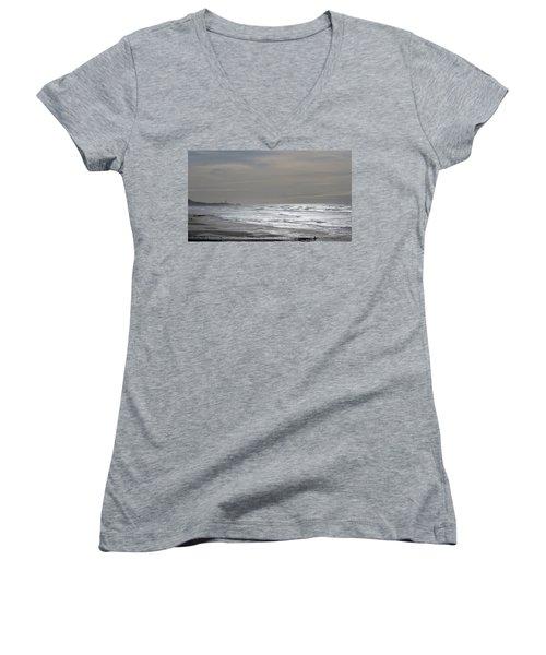 Blue Lighthouse View Women's V-Neck T-Shirt (Junior Cut) by Susan Garren