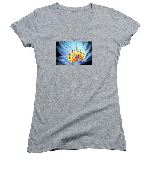 Blue Lotus Women's V-Neck T-Shirt (Junior Cut) by Cynthia Guinn