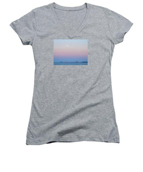 Blue Moon Eve Women's V-Neck T-Shirt (Junior Cut) by Deborah Lacoste