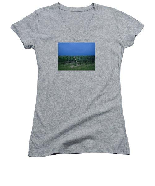 Women's V-Neck T-Shirt (Junior Cut) featuring the photograph Blue Moon by Robert Nickologianis