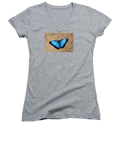 Blue Morpho #2 Women's V-Neck T-Shirt
