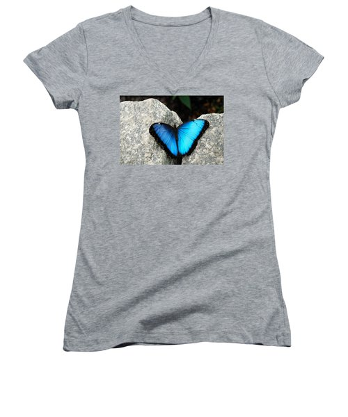 Blue Morpho Butterfly Women's V-Neck (Athletic Fit)