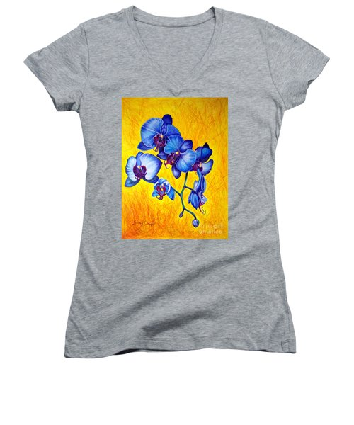 Blue Orchids 1 Women's V-Neck