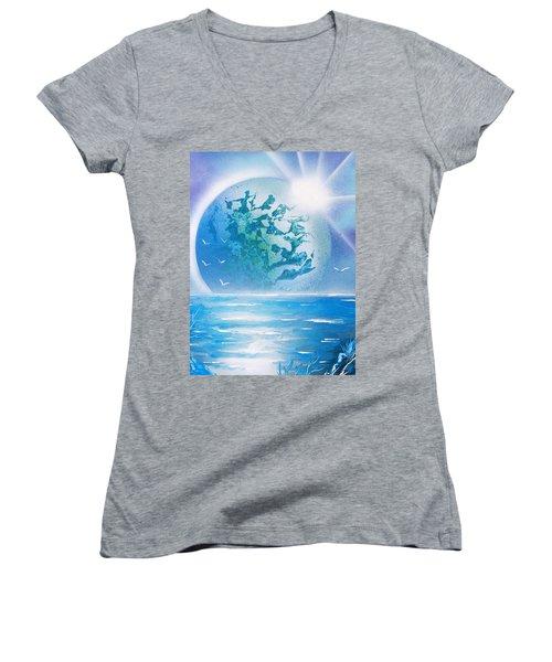 Blue Moon Women's V-Neck T-Shirt (Junior Cut) by Greg Moores
