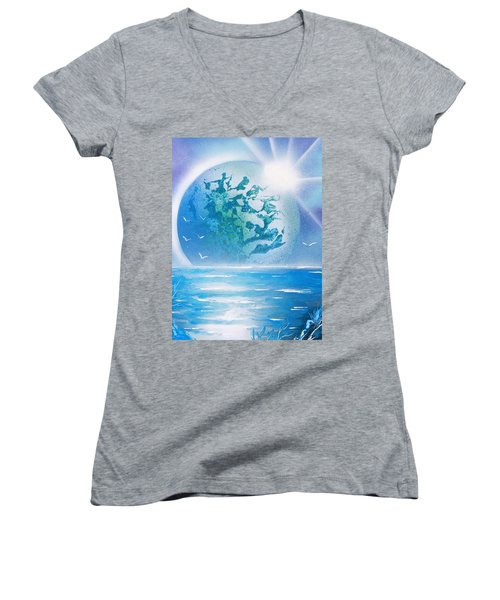 Blue Moon Women's V-Neck T-Shirt