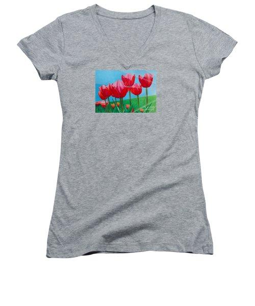Blue Ray Tulips Women's V-Neck T-Shirt (Junior Cut) by Pamela Clements