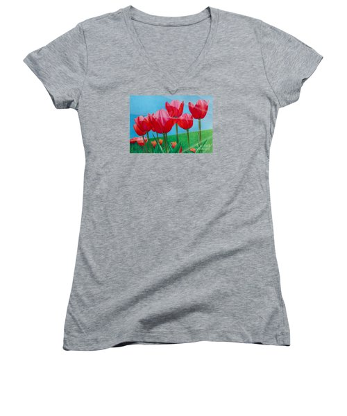 Blue Ray Tulips Women's V-Neck (Athletic Fit)