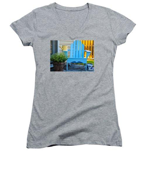Blue Repose  Women's V-Neck T-Shirt
