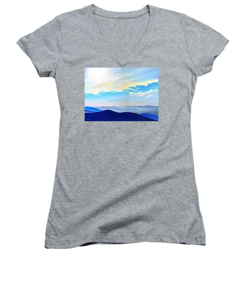 Blue Ridge Blue Above Women's V-Neck T-Shirt