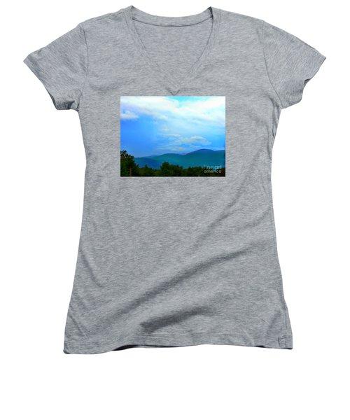 Women's V-Neck T-Shirt (Junior Cut) featuring the photograph Blue Ridge Mountains by Judy Palkimas