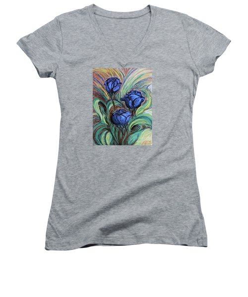 Women's V-Neck T-Shirt (Junior Cut) featuring the painting Blue Roses by Jasna Dragun