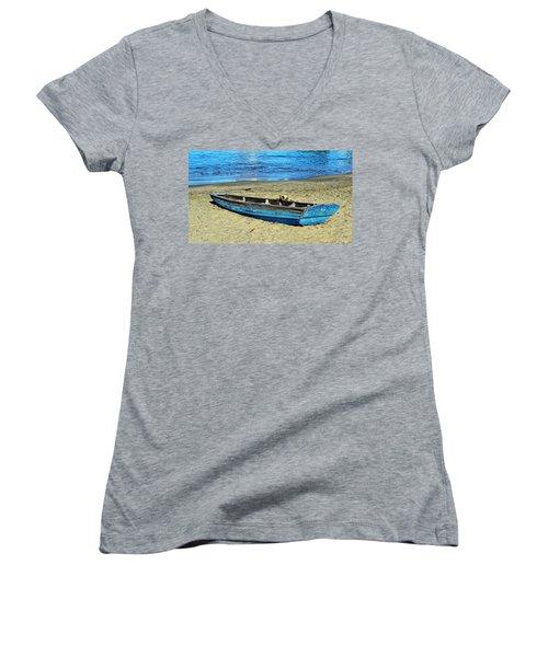 Blue Rowboat Women's V-Neck T-Shirt (Junior Cut) by Holly Blunkall