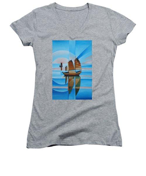 Blue Skies And Cerulean Seas Women's V-Neck T-Shirt (Junior Cut)