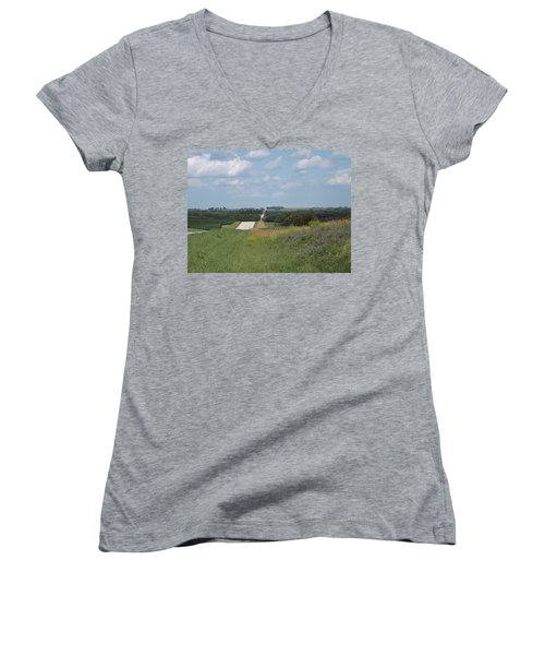 Blue Skies Women's V-Neck T-Shirt (Junior Cut) by Caryl J Bohn