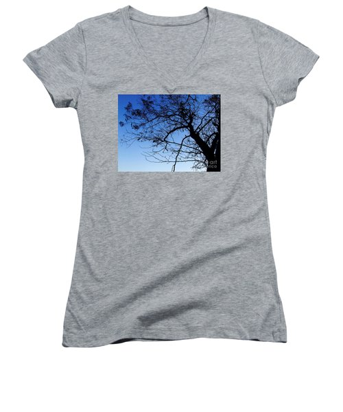 Women's V-Neck T-Shirt (Junior Cut) featuring the photograph Blue Sky by Andrea Anderegg