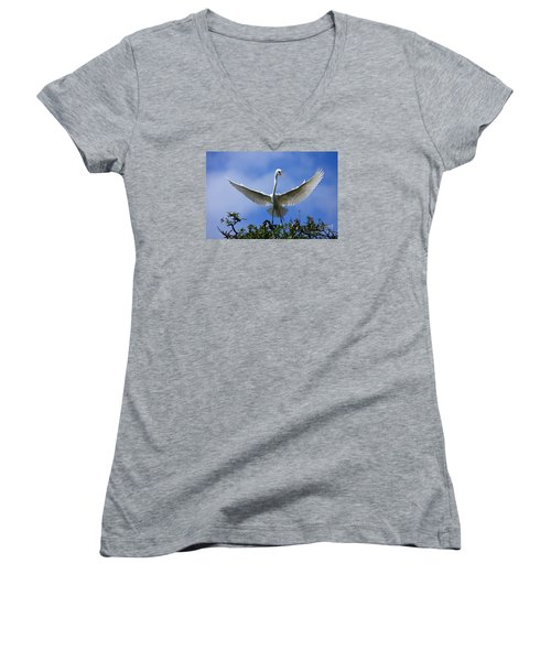 Women's V-Neck T-Shirt (Junior Cut) featuring the photograph Blue Sky Landing by John F Tsumas