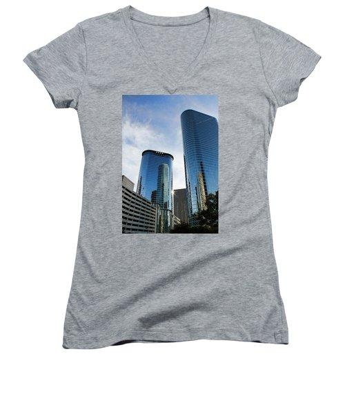 Blue Skyscrapers Women's V-Neck T-Shirt (Junior Cut) by Judy Vincent