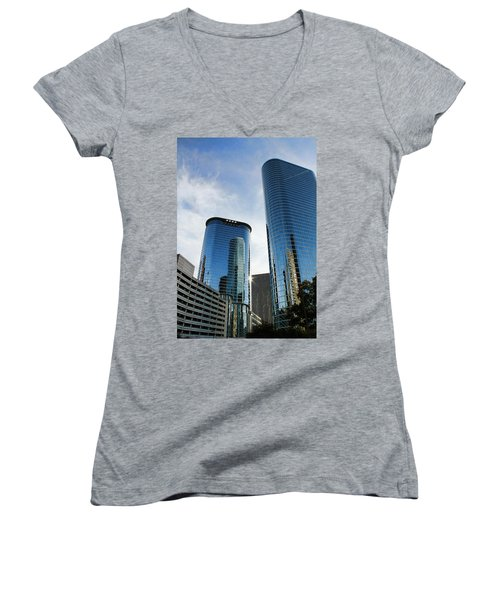 Blue Skyscrapers Women's V-Neck T-Shirt