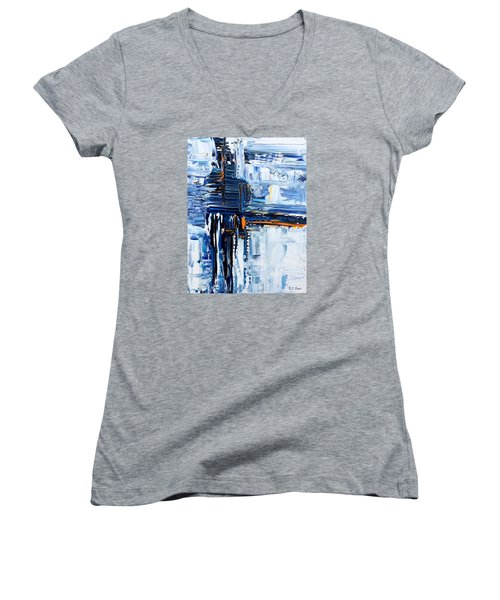 Women's V-Neck T-Shirt (Junior Cut) featuring the painting Blue Thunder by Rebecca Davis