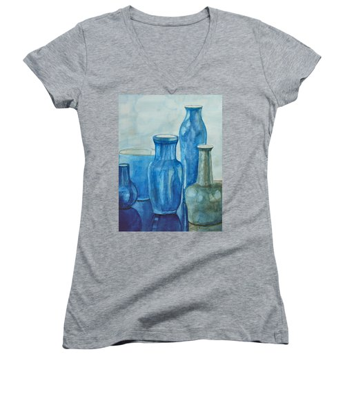 Blue Vases I Women's V-Neck T-Shirt (Junior Cut) by Anna Ruzsan