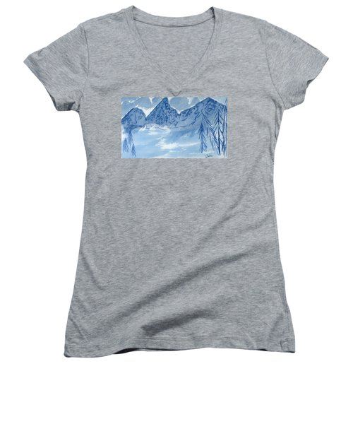 Blue View #2 Women's V-Neck T-Shirt